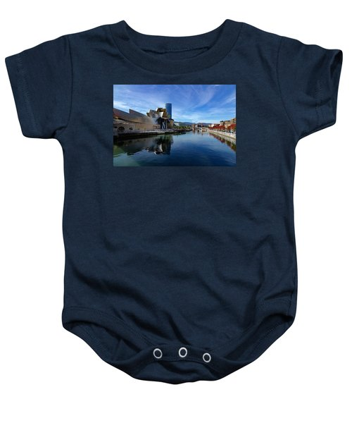 Bilbao In Autumn With Blue Skies Next To The River Nervion Baby Onesie