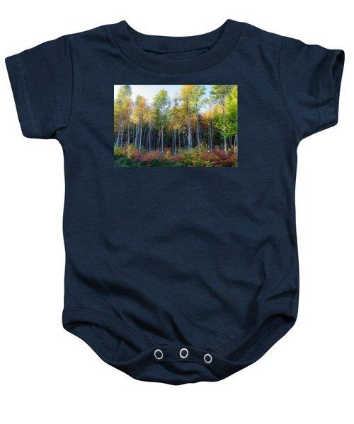 Birch Trees Turn To Gold Baby Onesie
