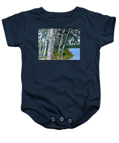 Birches At First Connecticut Lake Baby Onesie