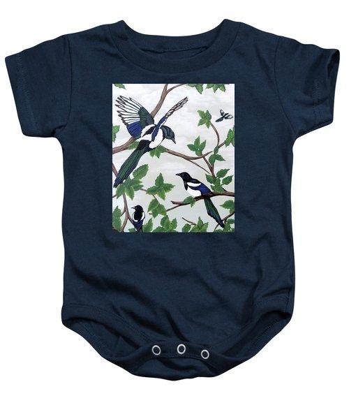Black Billed Magpies Baby Onesie by Teresa Wing