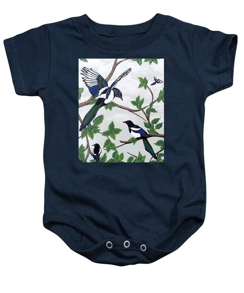 Black Billed Magpies Baby Onesie