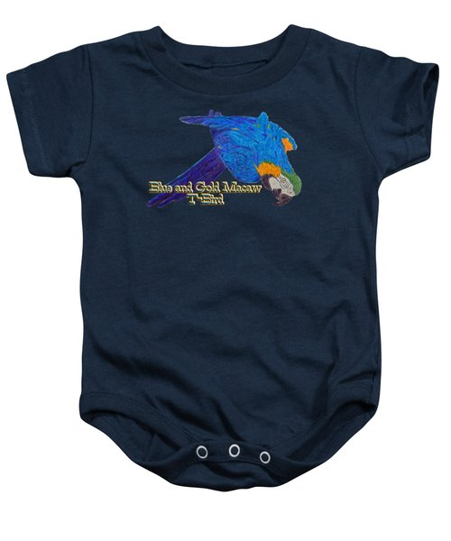 Blue And Gold Macaw Baby Onesie by Zazu's House Parrot Sanctuary