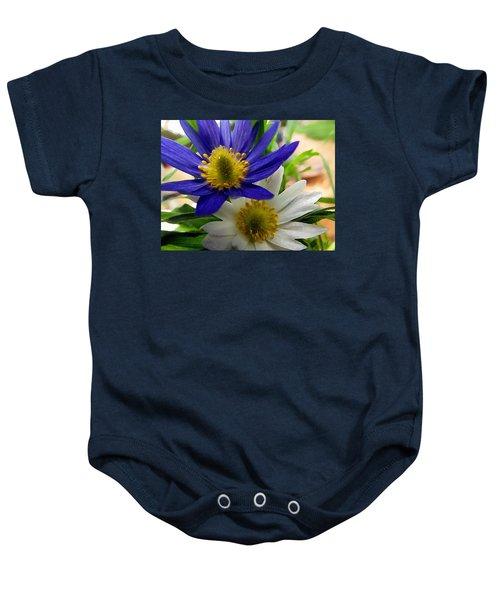 Blue And White Anemones Baby Onesie