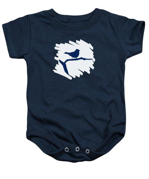 Blue Bird Silhouette Modern Bird Art Baby Onesie