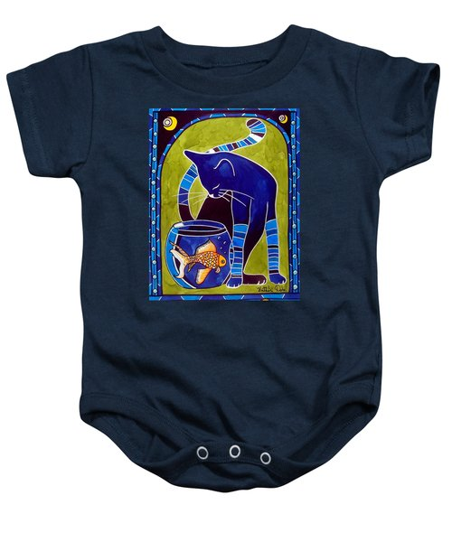 Baby Onesie featuring the painting Blue Cat With Goldfish by Dora Hathazi Mendes