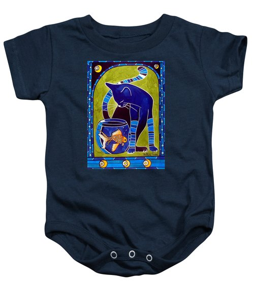 Blue Cat With Goldfish Baby Onesie