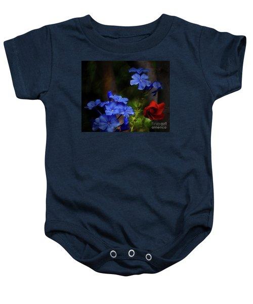 Blue Flowers Growing Up The Apple Tree Baby Onesie