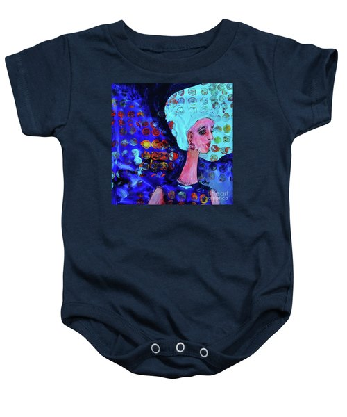 Blue Haired Girl On Windy Day Baby Onesie