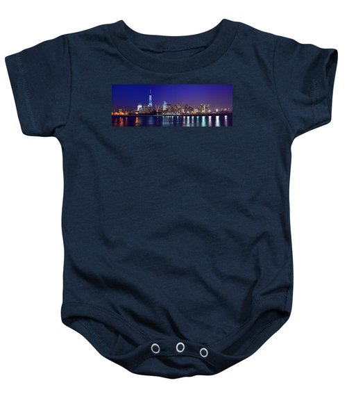 Blue Hour Panorama New York World Trade Center With Freedom Tower From Liberty State Park Baby Onesie