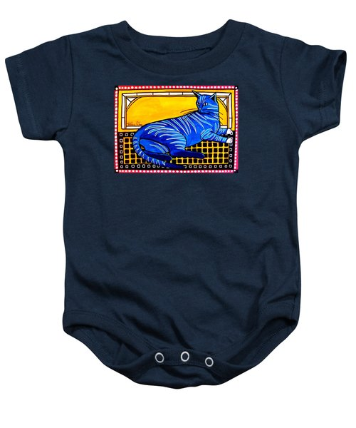 Baby Onesie featuring the painting Blue Tabby - Cat Art By Dora Hathazi Mendes by Dora Hathazi Mendes