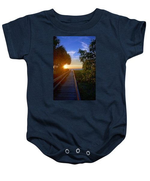 Sunset At The End Of The Boardwalk Baby Onesie