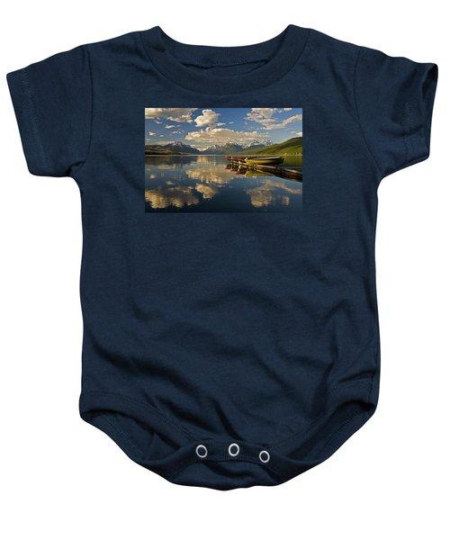 Boats At Lake Mcdonald Baby Onesie
