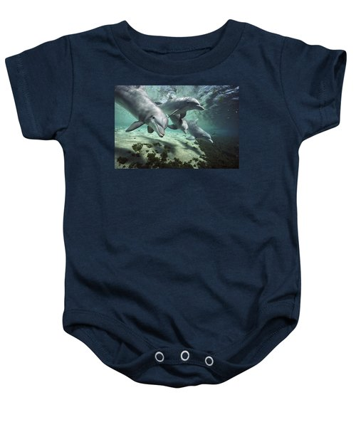 Four Bottlenose Dolphins Hawaii Baby Onesie