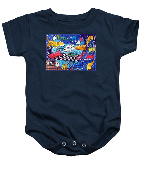 Cat Cocktail - Cat Art By Dora Hathazi Mendes Baby Onesie