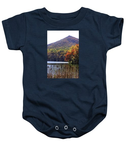 Cattails By Lake With Sharp Top In Background Baby Onesie