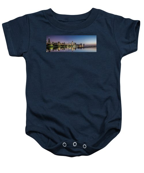Chicago Skyline At Dawn With A Panoramic Crop  Baby Onesie