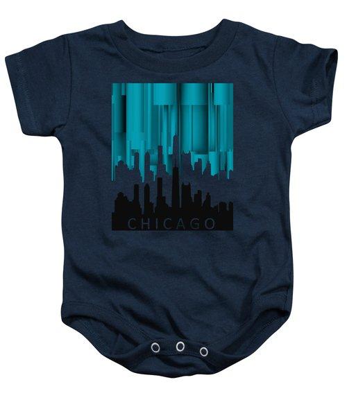 Chicago Turqoise Vertical In Negetive Baby Onesie by Alberto RuiZ