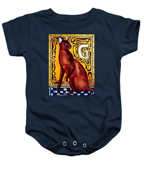 Baby Onesie featuring the painting Chocolate Delight - Havana Brown Cat - Cat Art By Dora Hathazi Mendes by Dora Hathazi Mendes