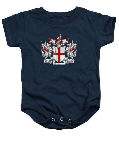 City Of London - Coat Of Arms Over Blue Leather  Baby Onesie