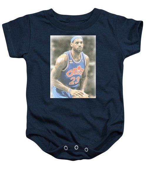 Cleveland Cavaliers Lebron James 1 Baby Onesie by Joe Hamilton