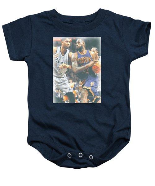 Cleveland Cavaliers Lebron James 4 Baby Onesie by Joe Hamilton