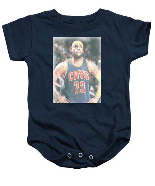 Cleveland Cavaliers Lebron James 5 Baby Onesie by Joe Hamilton