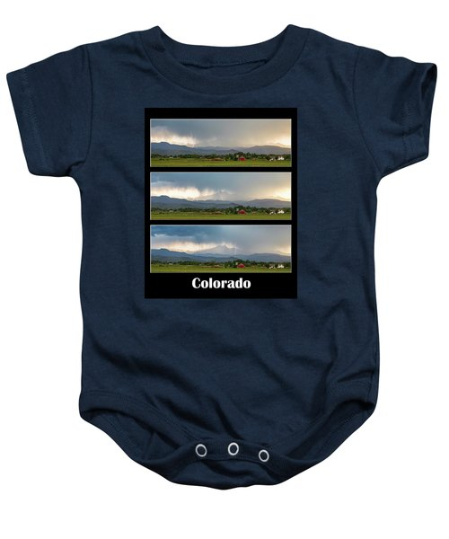 Baby Onesie featuring the photograph Colorado Front Range Longs Peak Lightning And Rain Poster by James BO Insogna