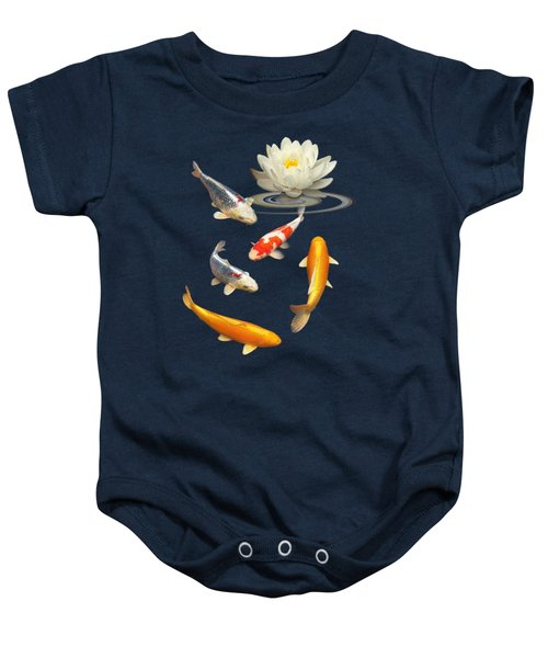 Colorful Koi With Water Lily Baby Onesie by Gill Billington