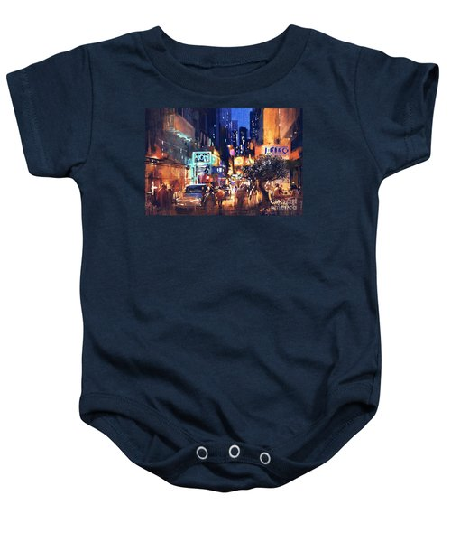 Baby Onesie featuring the painting Colorful Night Street by Tithi Luadthong