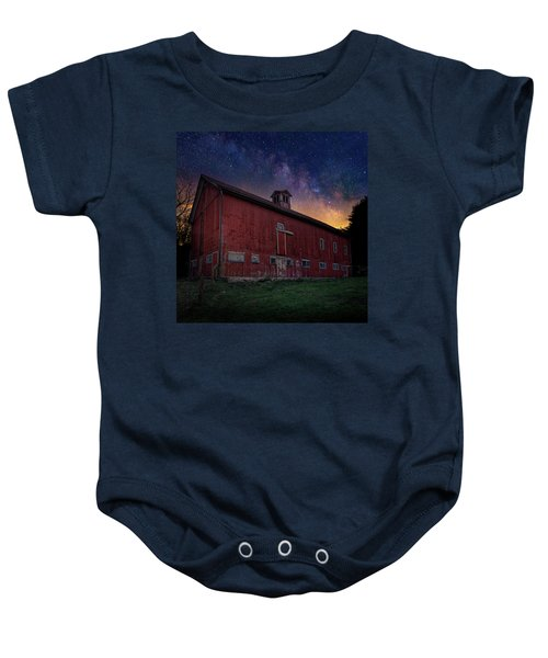 Baby Onesie featuring the photograph Cosmic Barn Square by Bill Wakeley