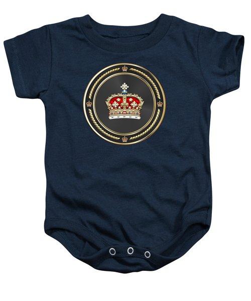 Crown Of Scotland Over Blue Velvet Baby Onesie