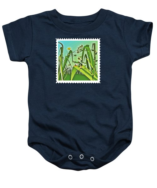 Cute Frog Camouflaged In The Garden Jungle Baby Onesie by Elaine Plesser