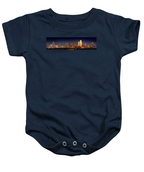 Dallas Skyline At Dusk  Baby Onesie by Jon Holiday