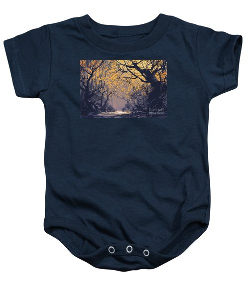 Baby Onesie featuring the painting Dark Forest by Tithi Luadthong