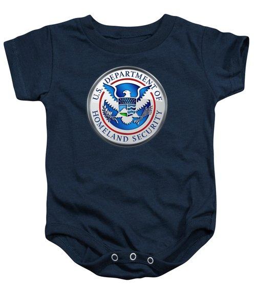 Department Of Homeland Security - D H S Emblem On Blue Velvet Baby Onesie