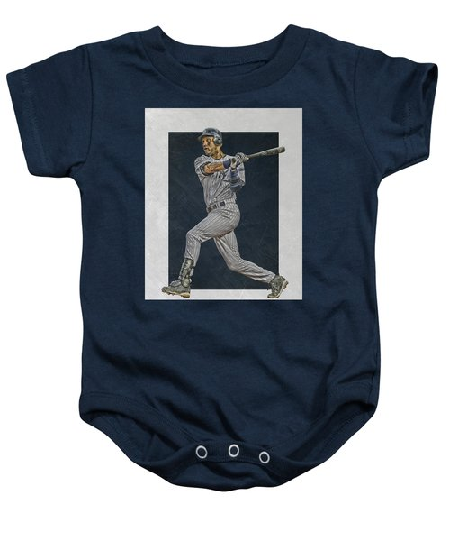 Derek Jeter New York Yankees Art 2 Baby Onesie by Joe Hamilton