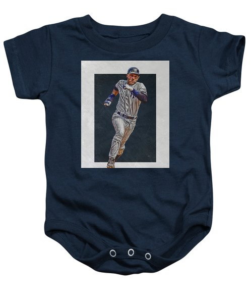 Derek Jeter New York Yankees Art 3 Baby Onesie by Joe Hamilton