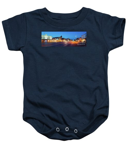 Early Morning Panorama Of Fredericksburg Main Street - Gillespie County Texas Hill Country Baby Onesie