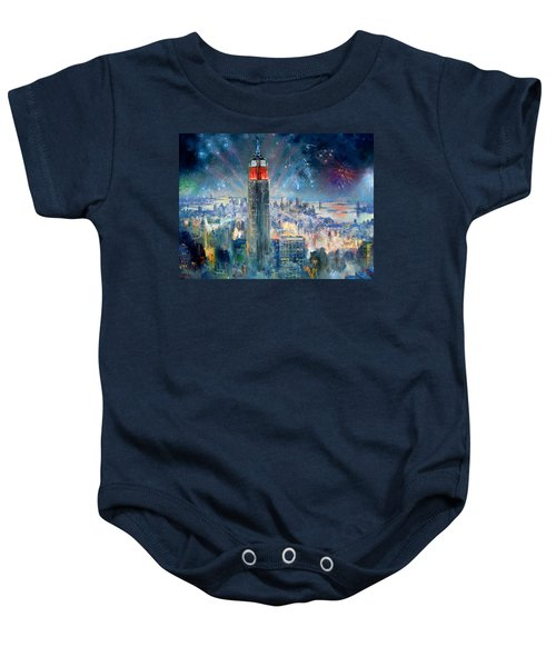 Empire State Building In 4th Of July Baby Onesie by Ylli Haruni