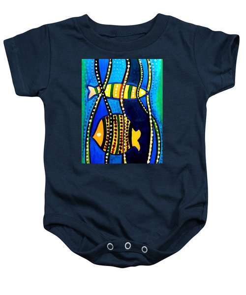 Baby Onesie featuring the painting Fishes With Seaweed - Art By Dora Hathazi Mendes by Dora Hathazi Mendes