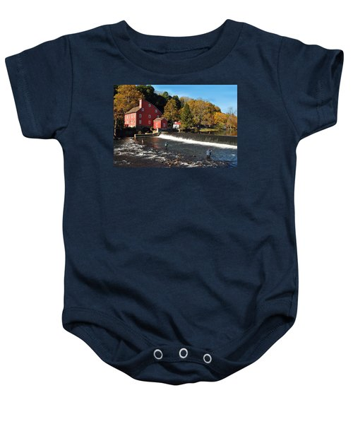 Fishing At The Old Mill Baby Onesie
