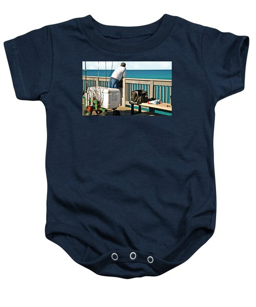 Fishing At The Pier Baby Onesie