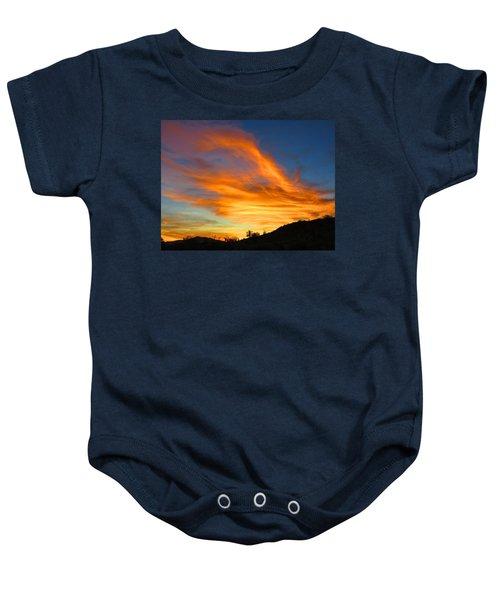 Flaming Hand Sunset Baby Onesie