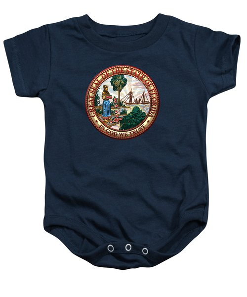 Florida State Seal Over Blue Velvet Baby Onesie