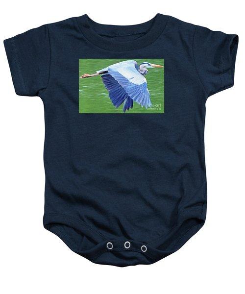 Flying Great Blue Heron Baby Onesie