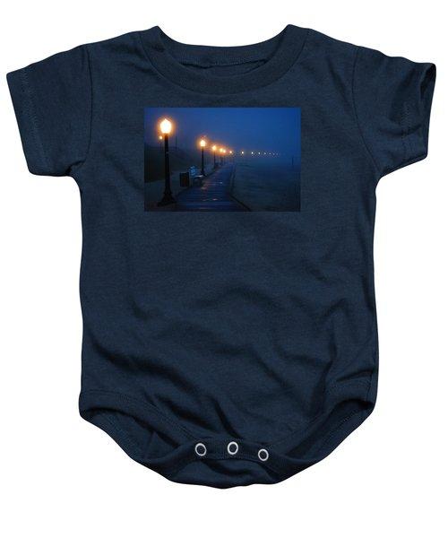 Foggy Boardwalk Blues Baby Onesie by Bill Pevlor
