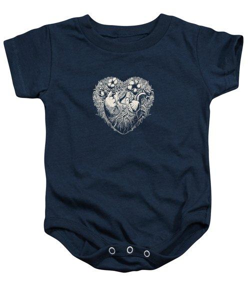 Foliage Heart Drawing On Dark Baby Onesie