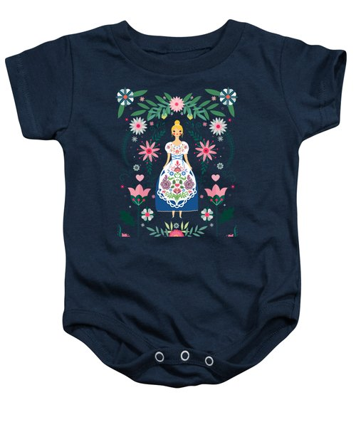 Folk Art Forest Fairy Tale Fraulein Baby Onesie