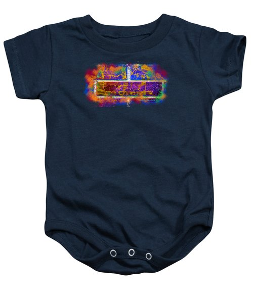 Forgive Brick Blue Tshirt Baby Onesie by Tamara Kulish
