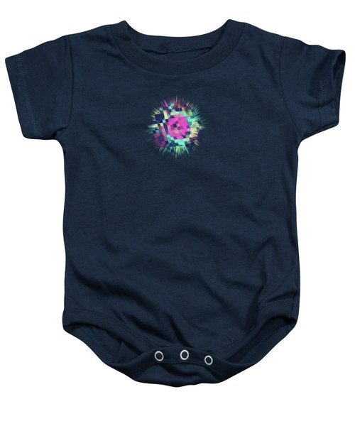 Fruity Rose   Fancy Colorful Abstraction Pattern Design  Green Pink Blue  Baby Onesie